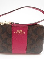 fc91ceee14af6 Coach F64233 Signature PVC Leather Corner Zip Wristlet Brown  Pink Ruby   32.00