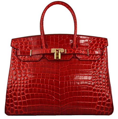 30b1756bc20 Ainifeel Women s Patent Leather Crocodile Embossed Top Handle ...