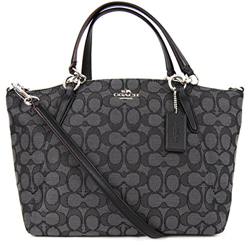 7dc48c46cc2bf4 Description. buy now $189.99 [ad_1] Coach's Small Kelsey satchel is wrapped  in Coach's dual tone smoke grey Outline Signature C print jacquard with  black ...