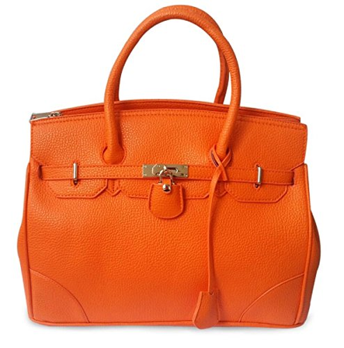 8e4a08865d4 RW Collections CEELIA Designer Tote Satchel Handbag Purse (Orange ...